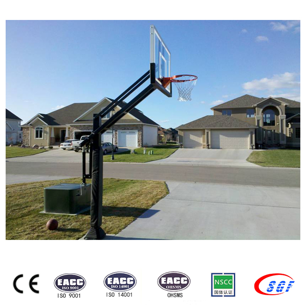 Height adjustable in ground basketball hoops basketball post