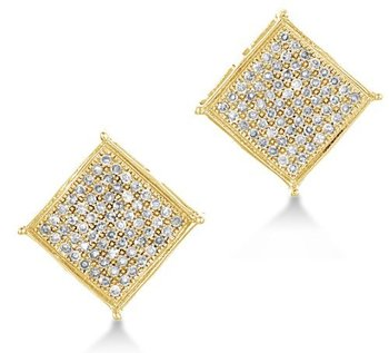 10k Yellow Gold Diamond Las Womens Mens Micro Pave Set Studs Round Cut Square Princess Shape Earrings 1 10 Cttw H I