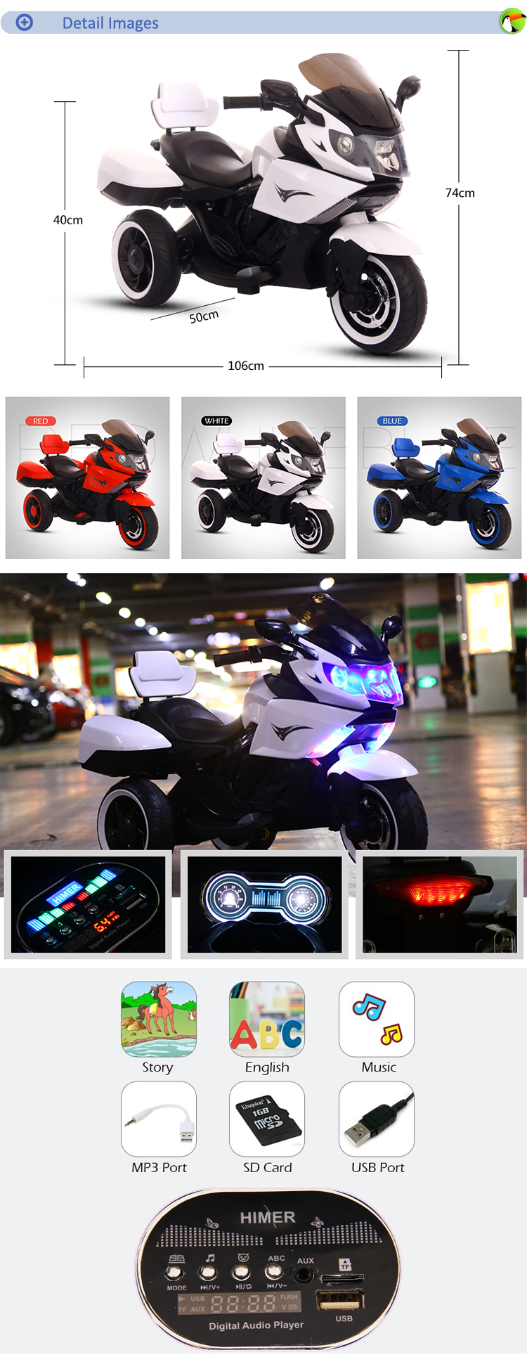 6V4AH*2 electric toy kids mini bicycle baby seat motorcycle / children motorcycle