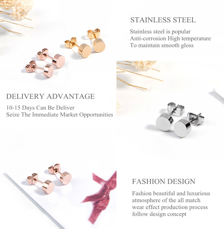 2019 Cheap Cute Silver Wholesale Fashion Jewelry Fancy Gold Plated Stainless Steel Simple Stud Earring For Women