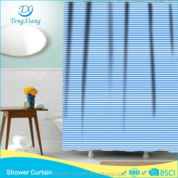 Polyester Material Blue Pinstripe Shower Curtains - Buy Shower ...