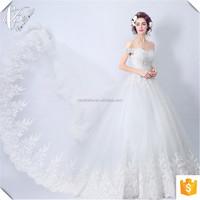 Custom Made White Off Shoulder Ball Gown White Tulle Wedding Dress Long Train