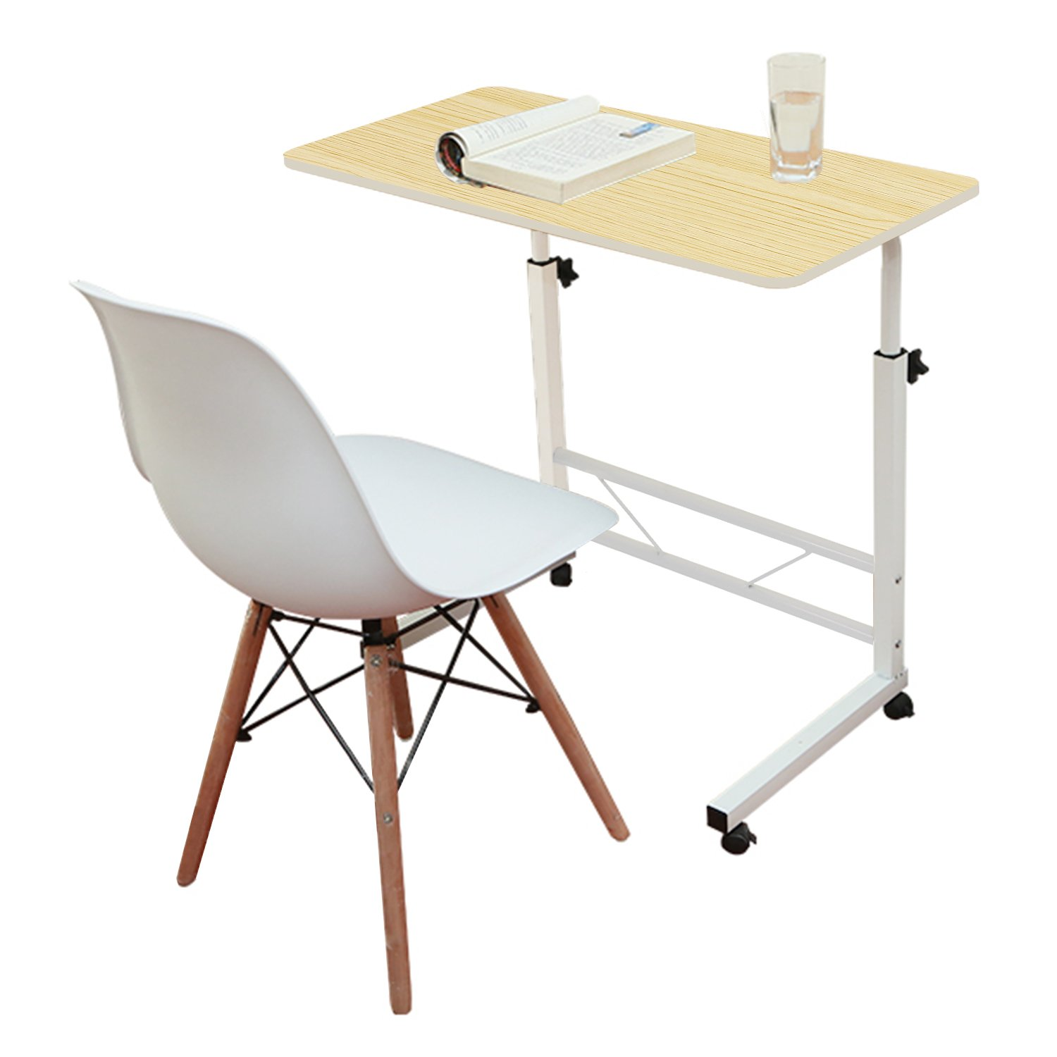 Jerry & Maggie - Adjustable Desk Lap Desk Table Lapdesk With 4 Wheels Flexible Wooden Stand Desk Cart Tray Side Table for Bed - Light Wood Tone