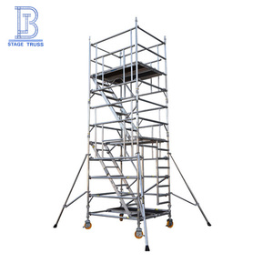 China manufacturer portable moving aluminum building scaffolding system with wheels