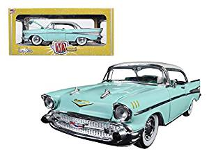 1957 Chevrolet Bel Air Hardtop Surf Green and India Ivory 1/24 Model Car by M2 Machines