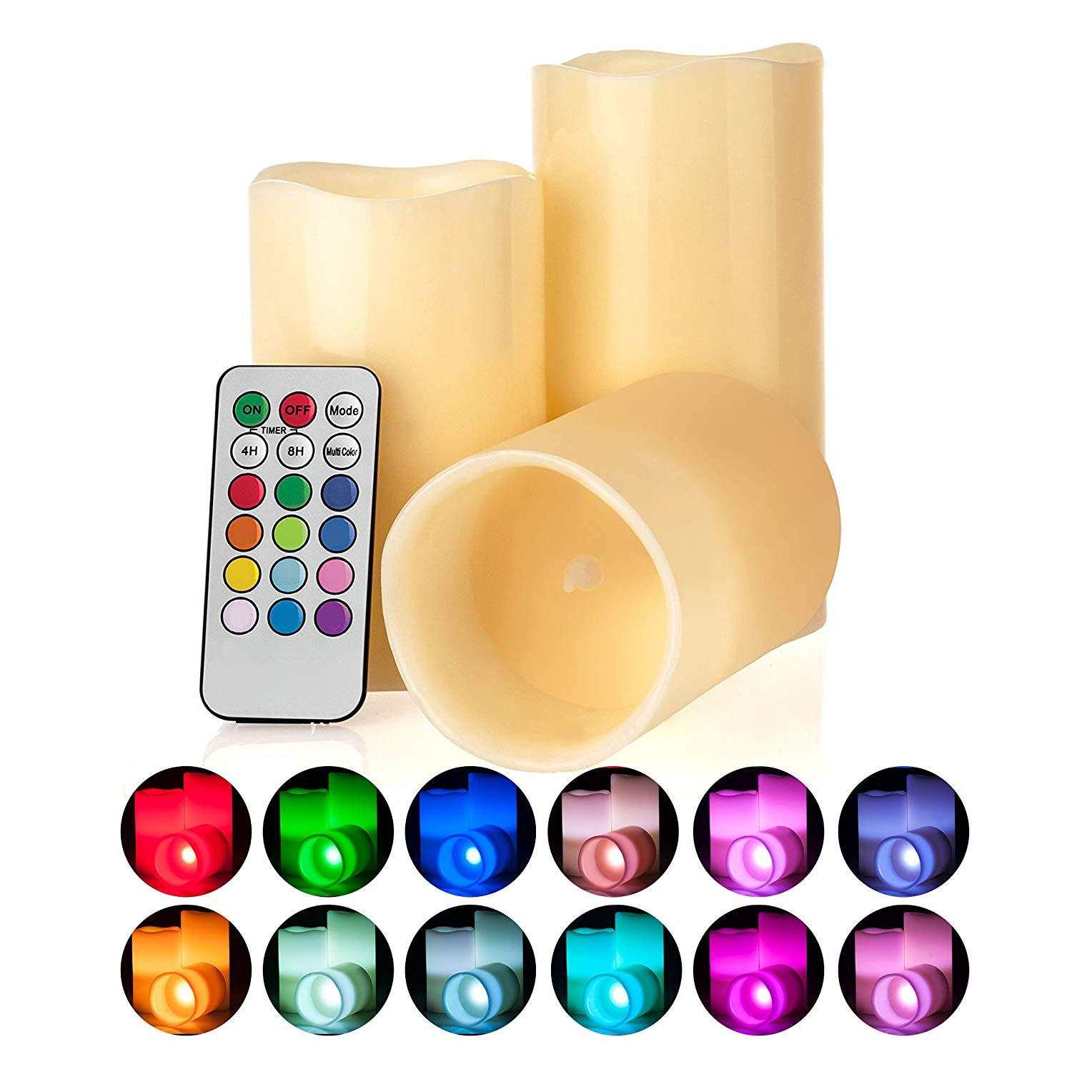 "Memoryee Multi-Color Flameless LED Candles Battery Operated Wax Candles, 3"" wide and 4"" 5"" 6"" tall, Remote and auto-off Timer- Set of 3pcs"