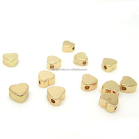 Factory Direct 24K Gold Heart Shape Metal Beads for Bracelet Necklace