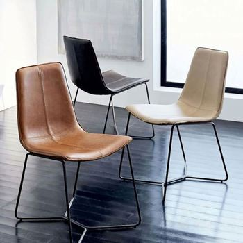 Black Or White Pu Leather Seat Metal Chrome Legs Dining Chair
