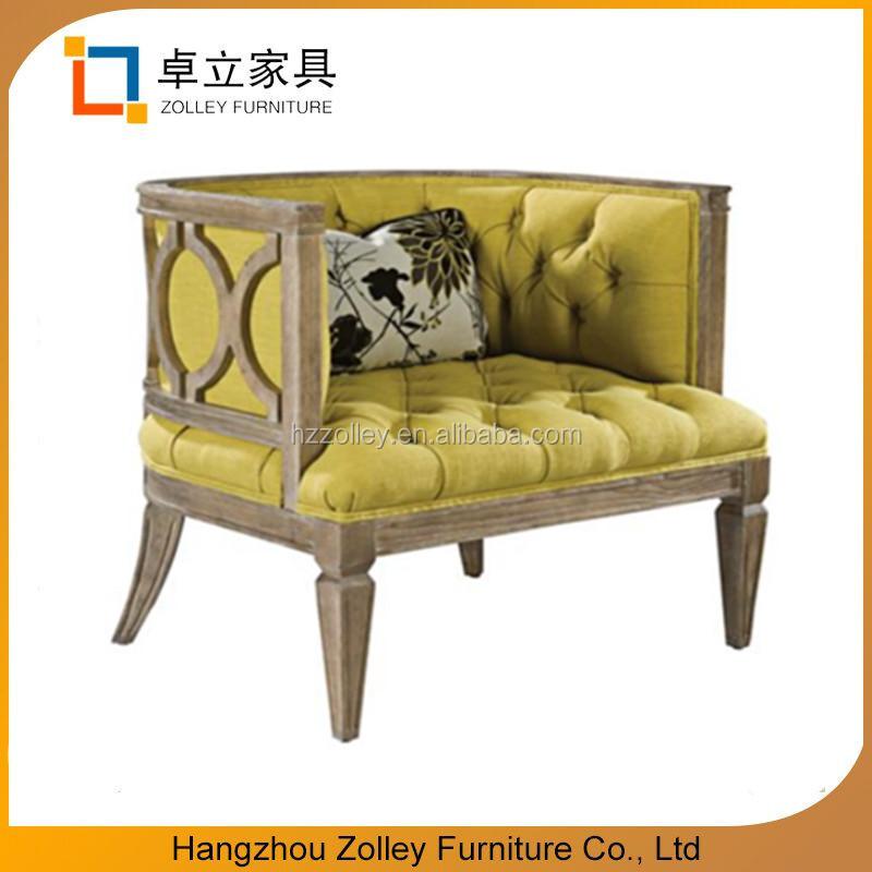 Amerikaanse zachte eikenhout en linnen stoel geel getuft leisure stoel voor thuis of wachtkamer - Linnen stoel ...