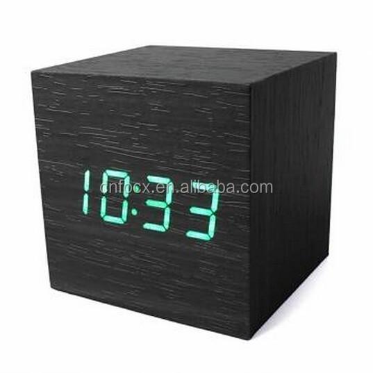 a31955e5df5 Quadrado de madeira LED Alarm clock Relógio Termômetro Calendário relógio  de mesa de Controle