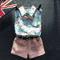 d46482a 2016 children girls printed summer clothing sets fashion kids clothes