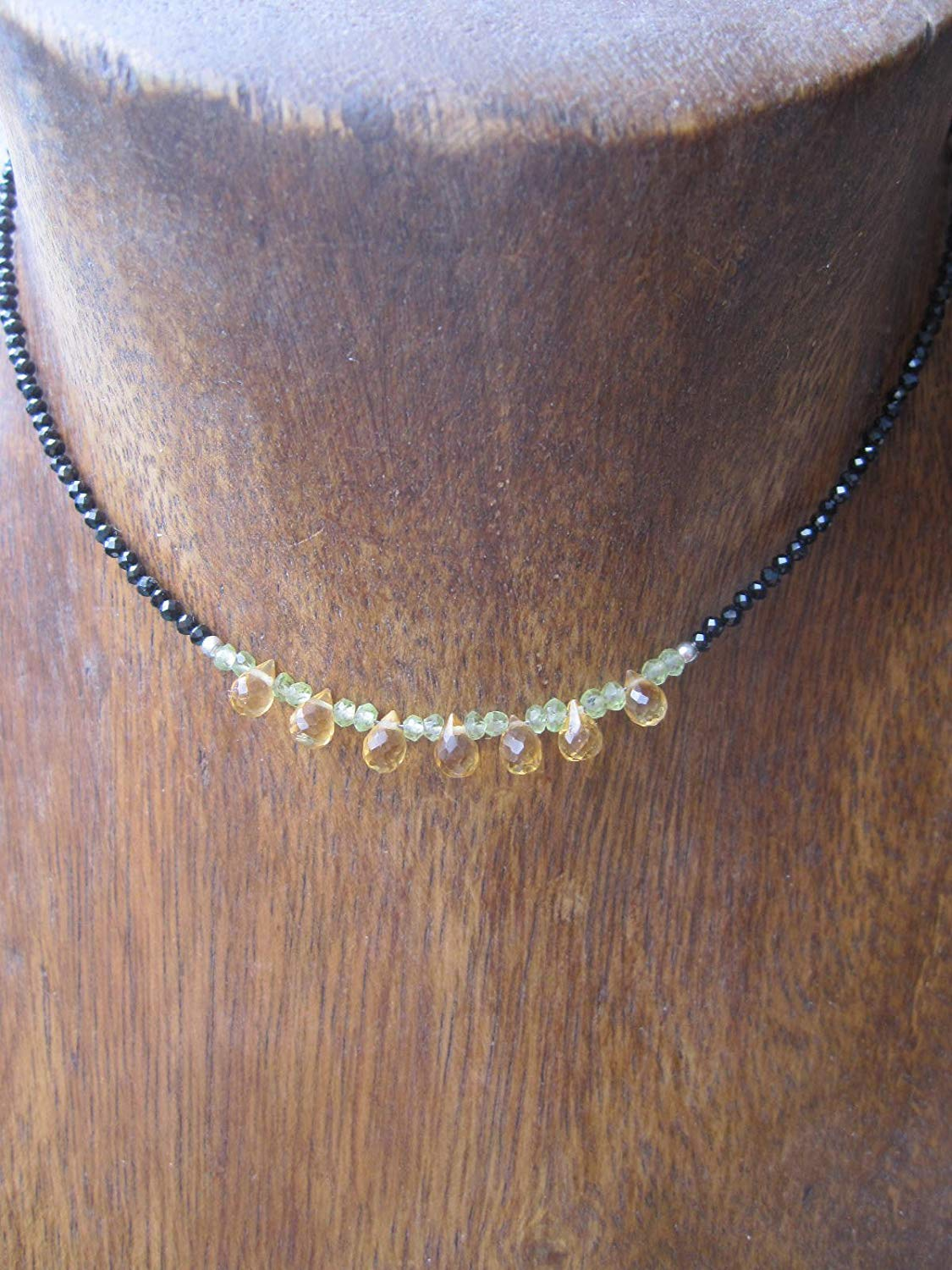 c0bb3fe6484e6d Get Quotations · Citrine,Peridot,Black Spinel Necklace,925 Sterling Silver  Chain Extender 1 inch -