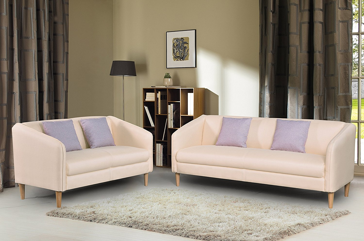 Container Furniture Direct Helton Collection 2 Piece Collection Modern Reversible Fabric Living Room Sofa Set, Cream