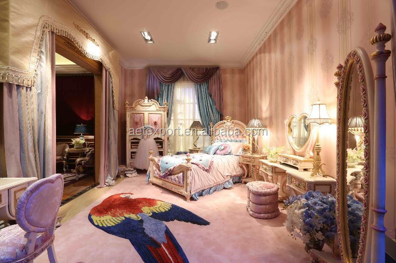 Luxury Style Pink Princess Bedroom Children Furniture For