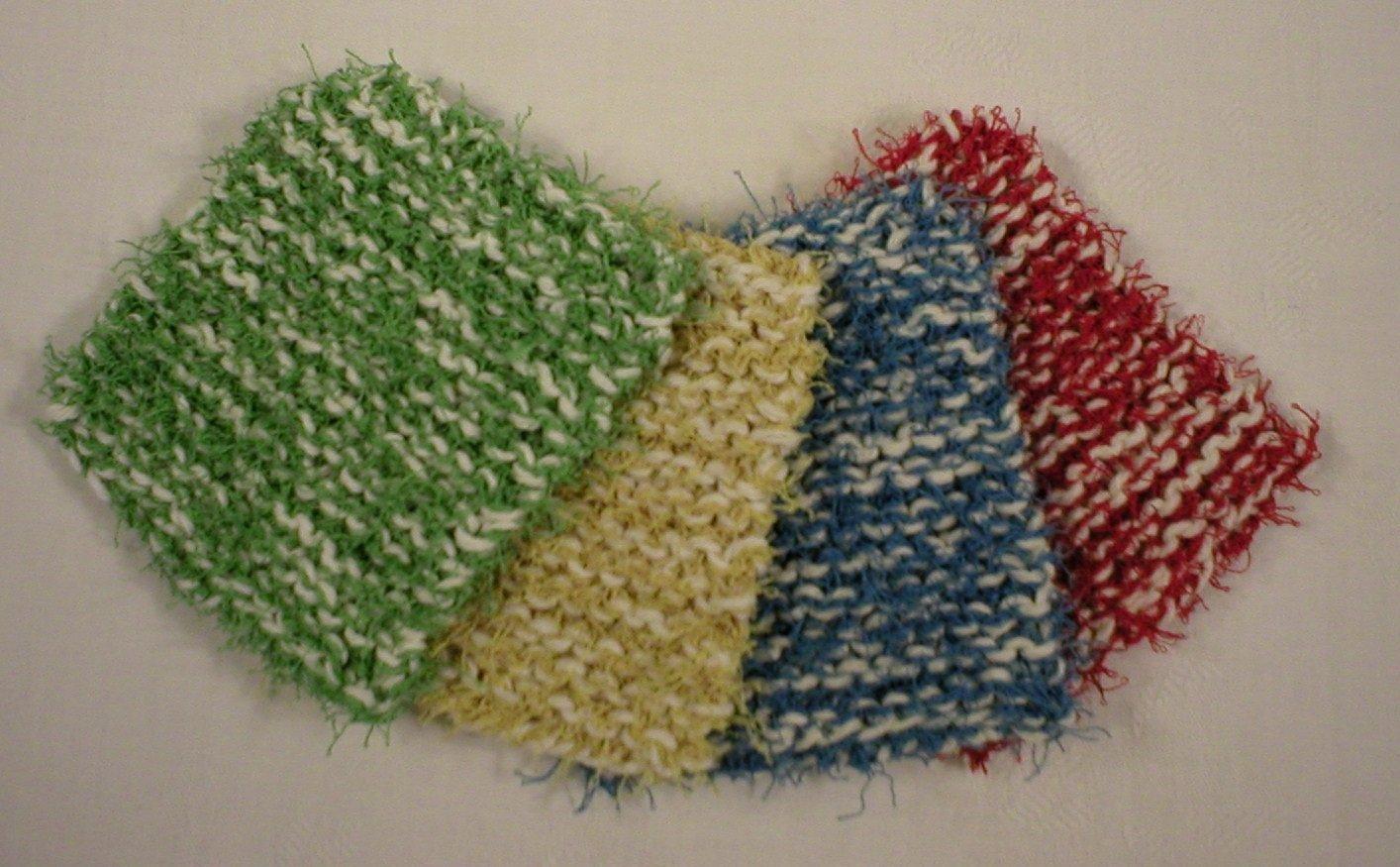 Handmade Dish Pot Pan Scrubbies, Scrubbers, Scrub Pads, 4-Pk, Red, Medium Blue, Green, Yellow (#1234)
