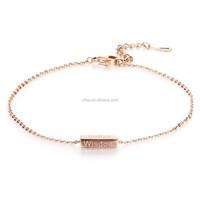 Womens Link Anklet Bracelet Rose Gold Stainless Steel Bell Charms Anklets