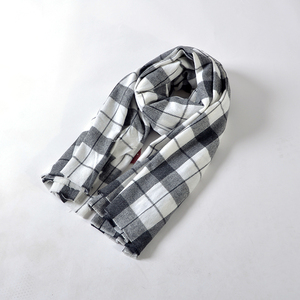 100%Acrylic black white checked wide scarf big wrap