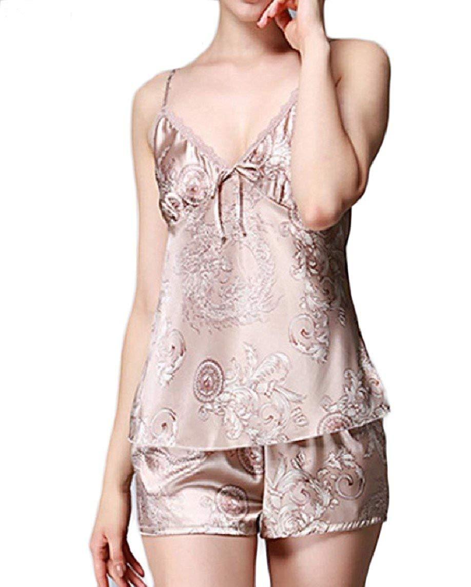 d7e0775e96 Get Quotations · Nicelly Women s 2 Piece Set Sexy Silk Shorts Camisole Slip  Family Pajama Set