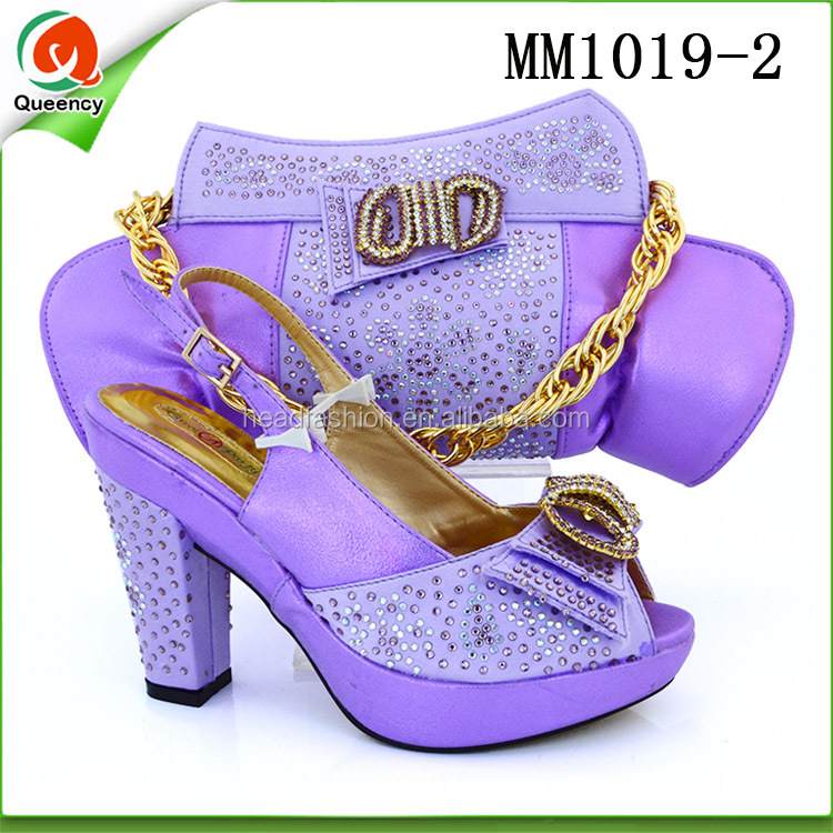 MM1019 Queency Guangzhou Shops 2017 Newest High Heel Ladies Peep-toe Nigeria Wedding Italian Shoes and Matching Bag Set