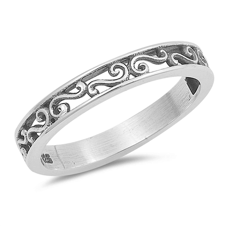 Fleur De Lis Filigree Flower Vintage Ring .925 Sterling Silver Band Sizes 5-10