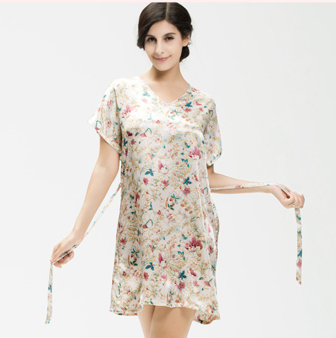 4fc4c249b3b Buy 2015 Summer ladies silk satin sleepshirt floral night shirt short sleeve  nightgown V-neck homedress elegant pajamas for women in Cheap Price on ...