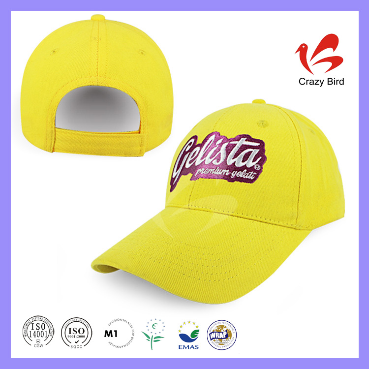 Promotional Yellow Cotton 6 Panels Cap 58CM Hat Circumference Ladies Sequin Baseball Cap