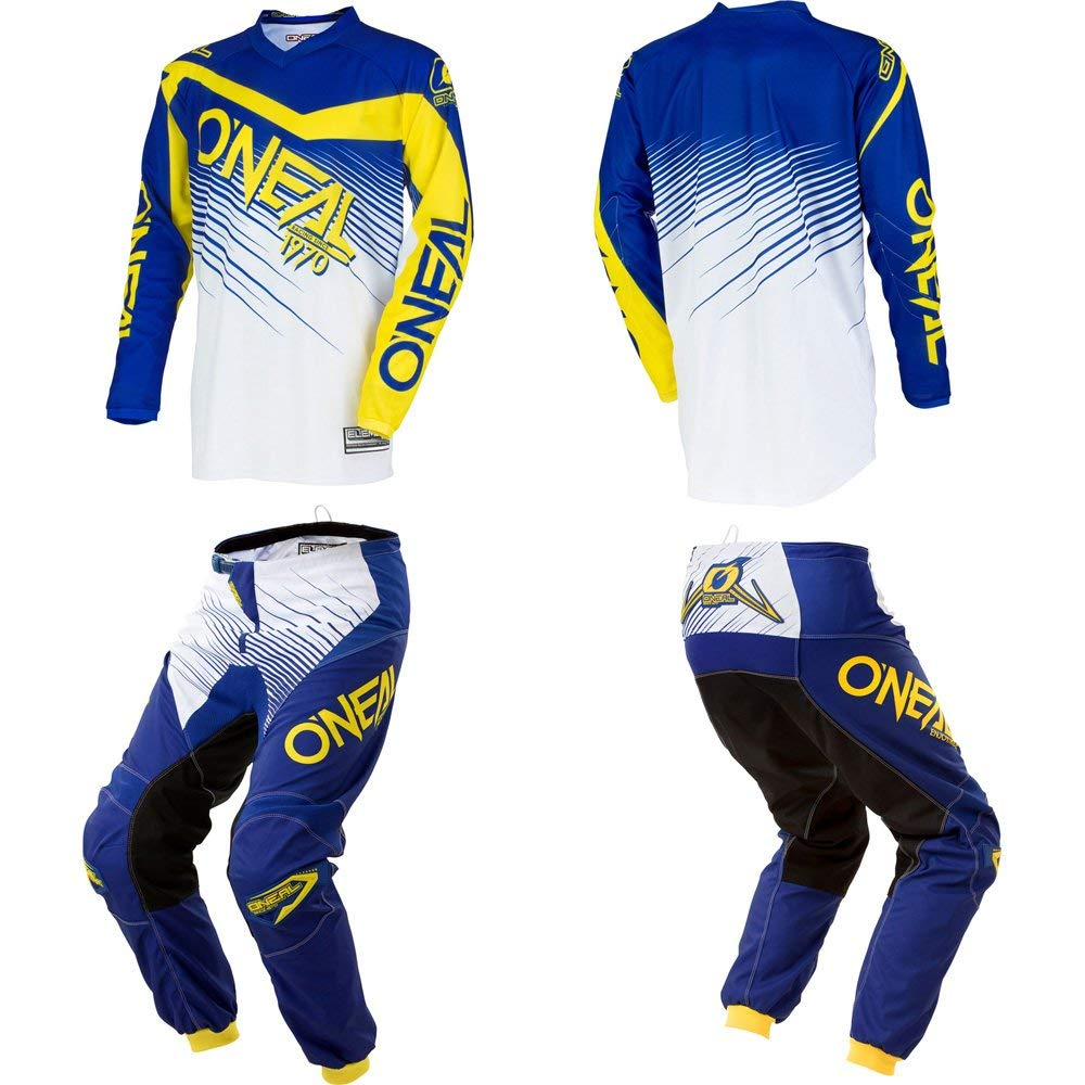 Get Quotations · O Neal Element Blue Yellow motocross MX off-road dirt bike  Jersey Pants f00200a2c