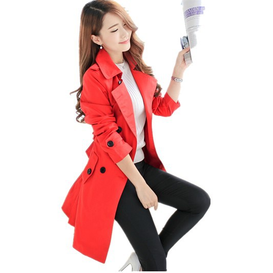 Free Shipping New arrival 2015 Spring Autumn Women's Classic Slim Medium-long Double Breasted Trench Overcoat Plus Size