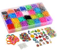Amazon Rubber Bands Refill Loom Kit with Loom Bands charms, s clips, beads, stickers