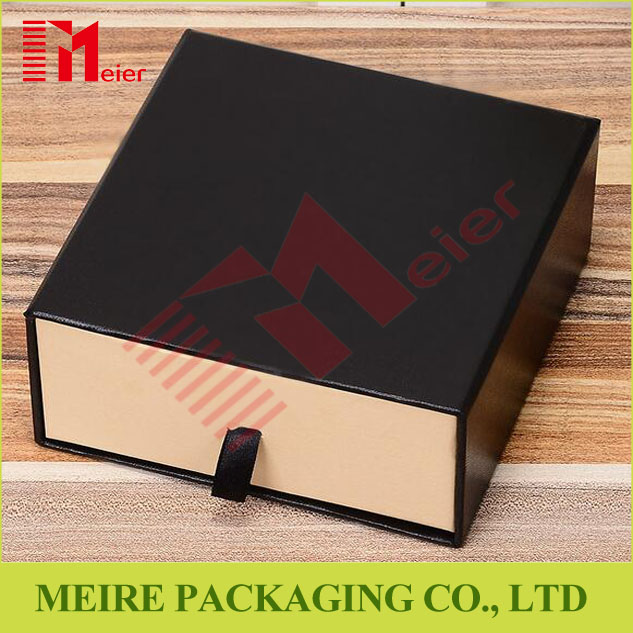 High-end grey cardboard ribbon pull tray foil stamp printing rigid box