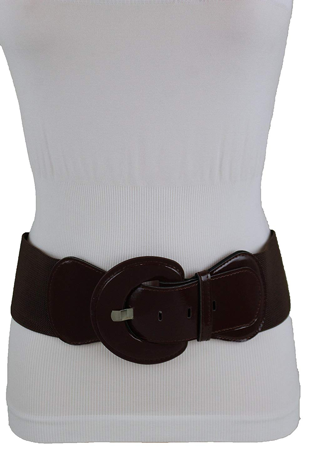 Women Wide Corset Belt Waist Hip Brown Elastic Faux Leather Plus Size L XL XXL