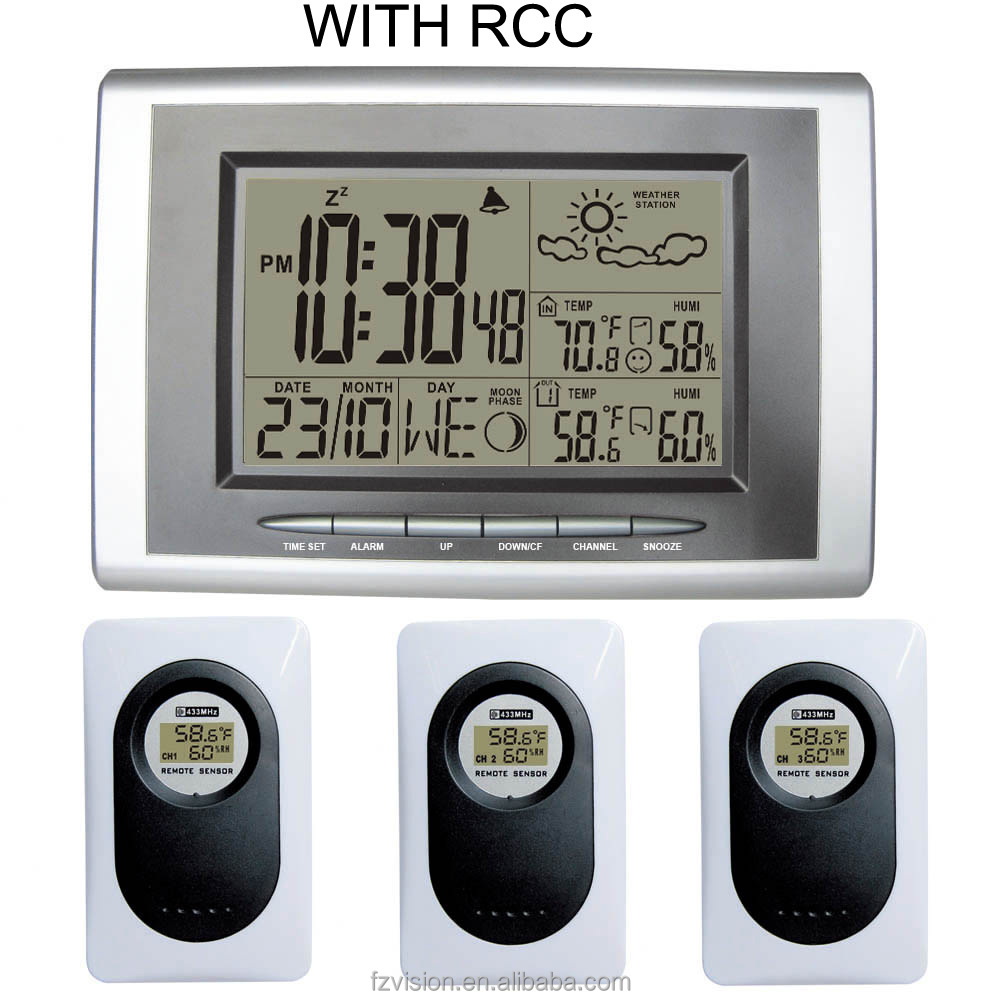 Radio controlled clock 3 Transmitters, 433MHz RF Wireless Weather Station Indoor Outdoor Temperature Humidity Digital Alarm