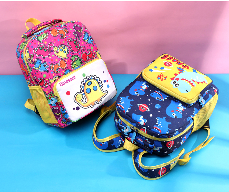 Waterproof Nylon Girls Boys Kindergarten School backpack Cartoon Printed Lovely dinosaur child kids School bag