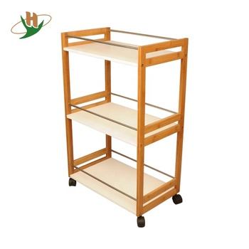 Rolling White Mdf Shelf Bamboo Wooden Kitchen Trolley Cart With Wheels Wood