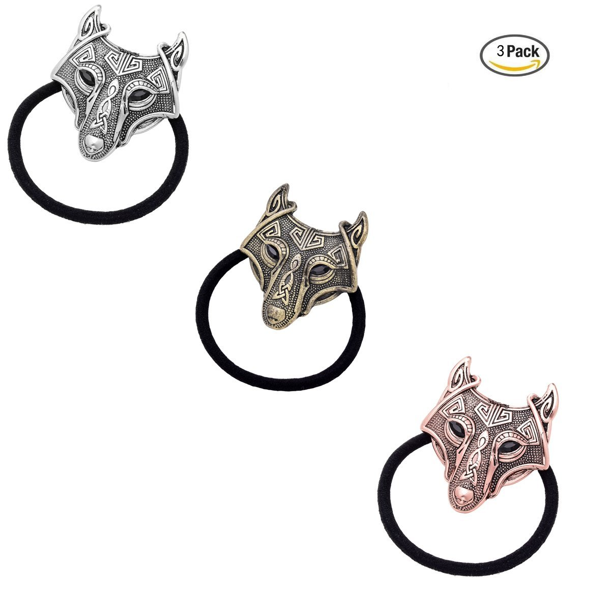 Woogge Women's Viking Wolf Head Pendant By Alchemy Gothic Stretch Hair Rope Ring For Girls (wolf head(3pcs/lot))