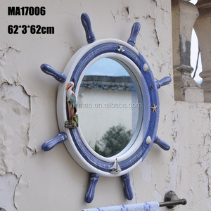 Nautical Wooden Ship Steering Wheel Mirrors 62x62xcm Wall Mirror