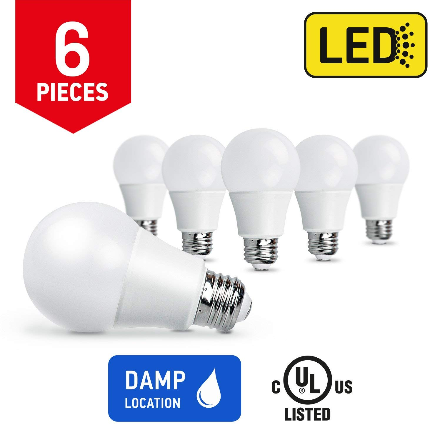 OSTWIN Non-Dimmable LED Light Bulb A19 E26 Medium Base 9W (60 Watt Equivalent) 800lm 3000K (Warm White) 6-pack, UL listed