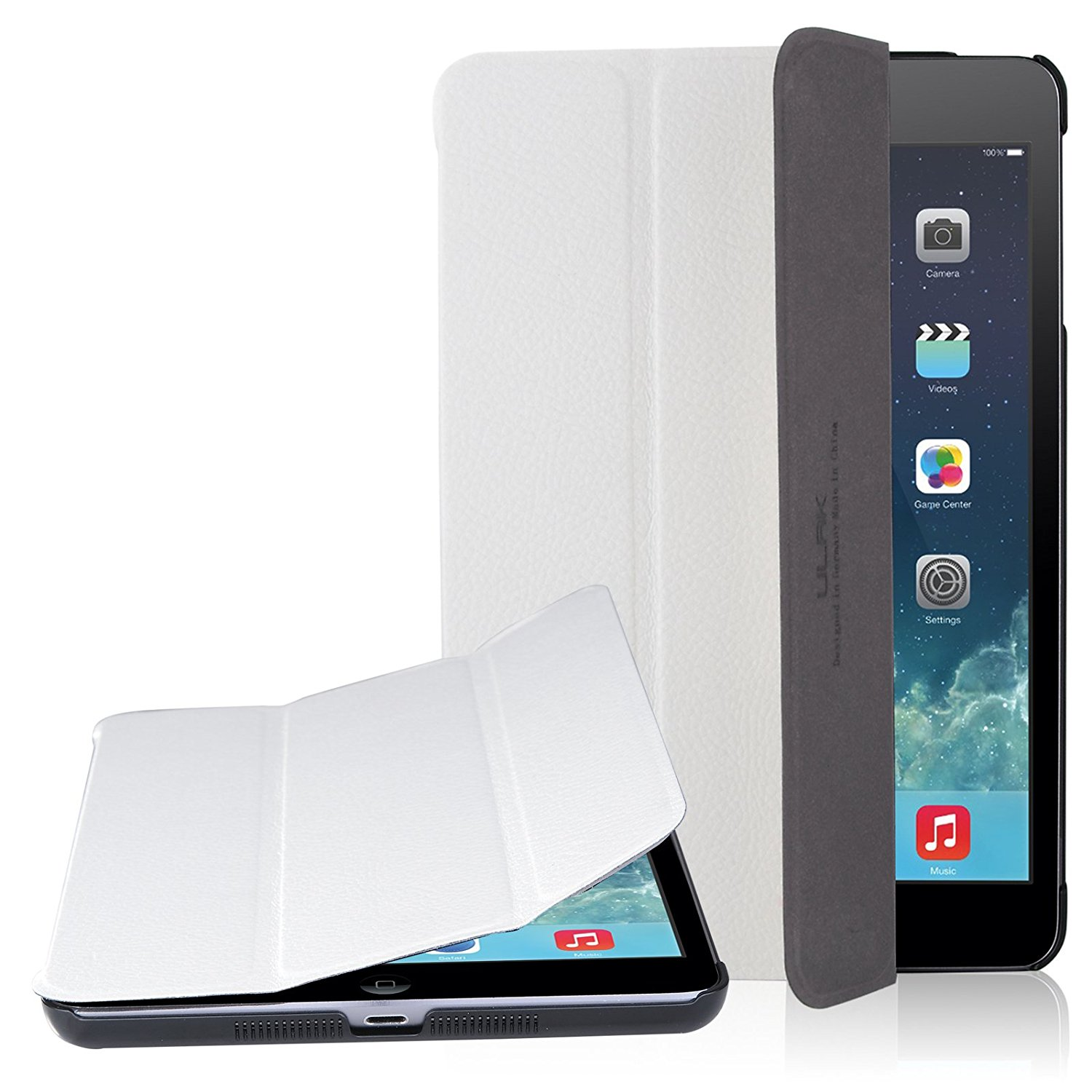 iPad Mini 3 Case,iPad Mini 2 Case,iPad Mini Case,ULAK iPad Mini Case Flip Case with Synthetic Leather Case + Fold Media Stand for Apple iPad Mini 3 2 1 (7.9 inch) White
