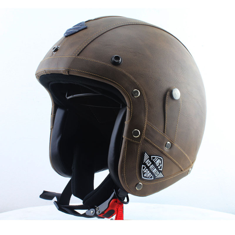 Buy Dot Approved Retro Leather Motorcycle Helmet Wwii Big German