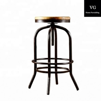 eb6900f56cb Vintage French Style cheap antique Metal Industrial bistro swivel Bar Stools