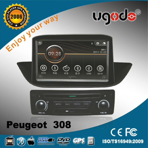 UGO Car Double Din GPS for Peugeot 308 Car Multimedia Player Built in Bluetooth Radio and GPS