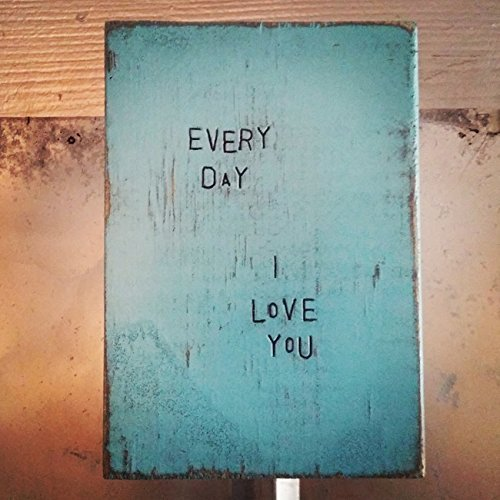 WiLDWoRDS - beautiful words on wood - EVeRY DaY, I LoVe YoU - Solid wood art / art block / wall art