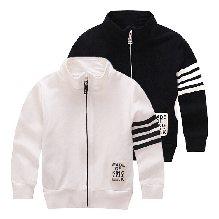 2015 New Baby Boys Hoodies And Sweatshirts Children's Clothing Black White Sweatshirt With A Zipper For Boy Kids Clothes