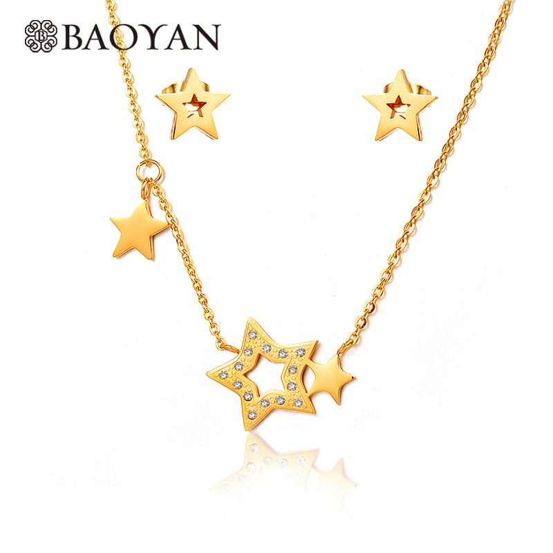 f0fb7c6290fc joyas juego collar y aretes de estrella brillante en acero dorado inoxidable