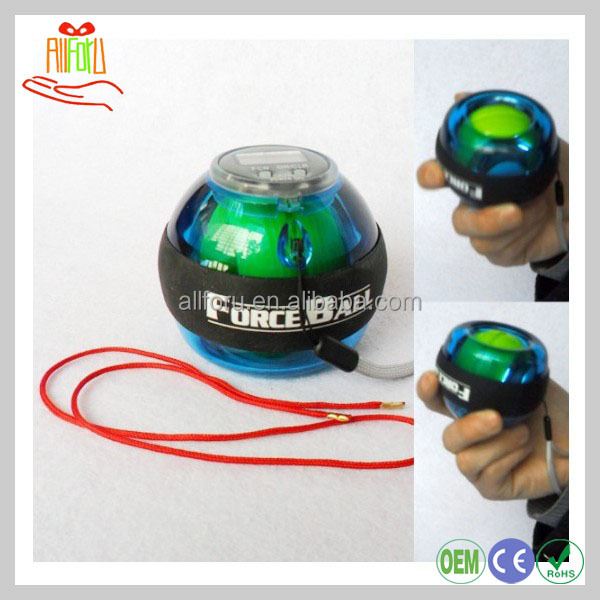 Gyroscopic custom power force wrist ball, wrist power ball with led and count
