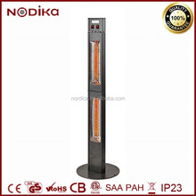 Two vertical golden Halgeon Outdoor Standing Floor Electric Patio Heaters Grey Silver Hammer Painting CE& ROHS Approved