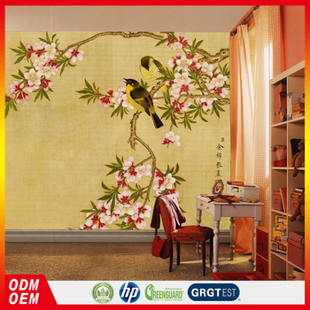 Bird And Flower Interior Painting Larger Hd Image Old Photo Design Wall Murals