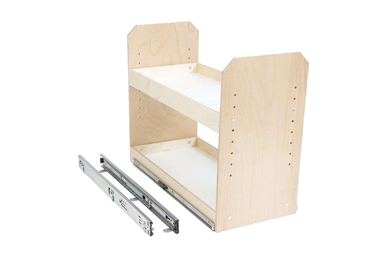 "Slide-A-Shelf AMC-PL-2TT-6W18D20H-F Baltic Birch Adjustable 2 Tier Tower with Full Extension, 6"" x 18"" x 20"""