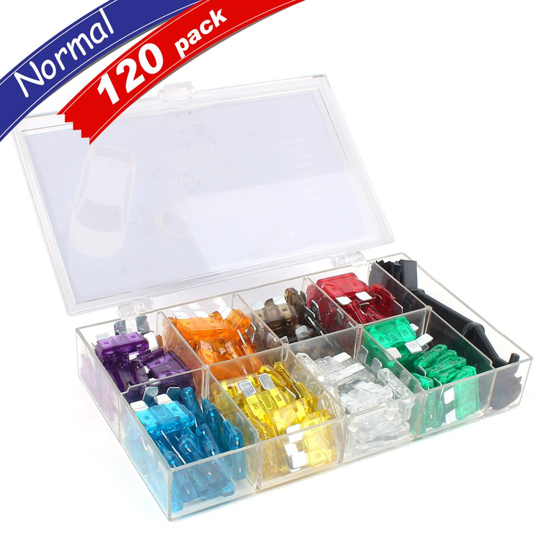 Copap 120PCS Assorted Auto Car Truck Standard Blade Fuse Set (3, 5, 7.5, 10, 15, 20, 25, 30 AMP) Automotive Replacement Fuse Puller and Wipe Cloth Included