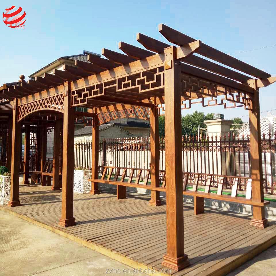 Pavillon Garten Holz Stil Aluminium Outdoor Angepasst Chinesischen